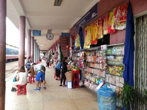 Shops on the main platform at Hue Railway Station