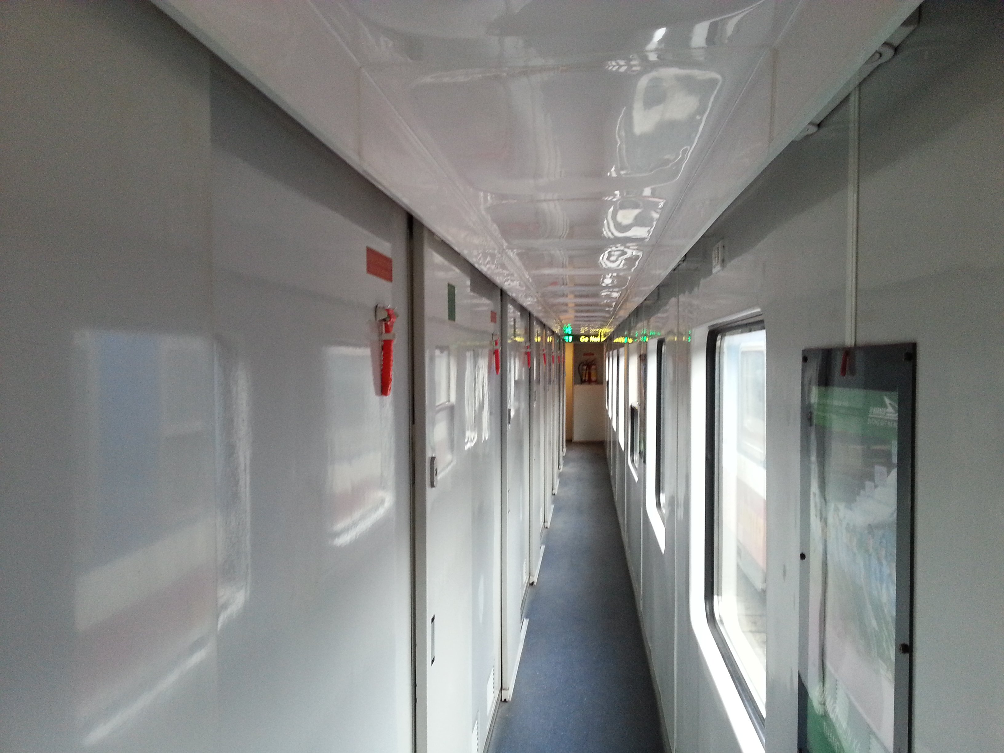 Corridor in a sleeper carriage on a Vietnam train