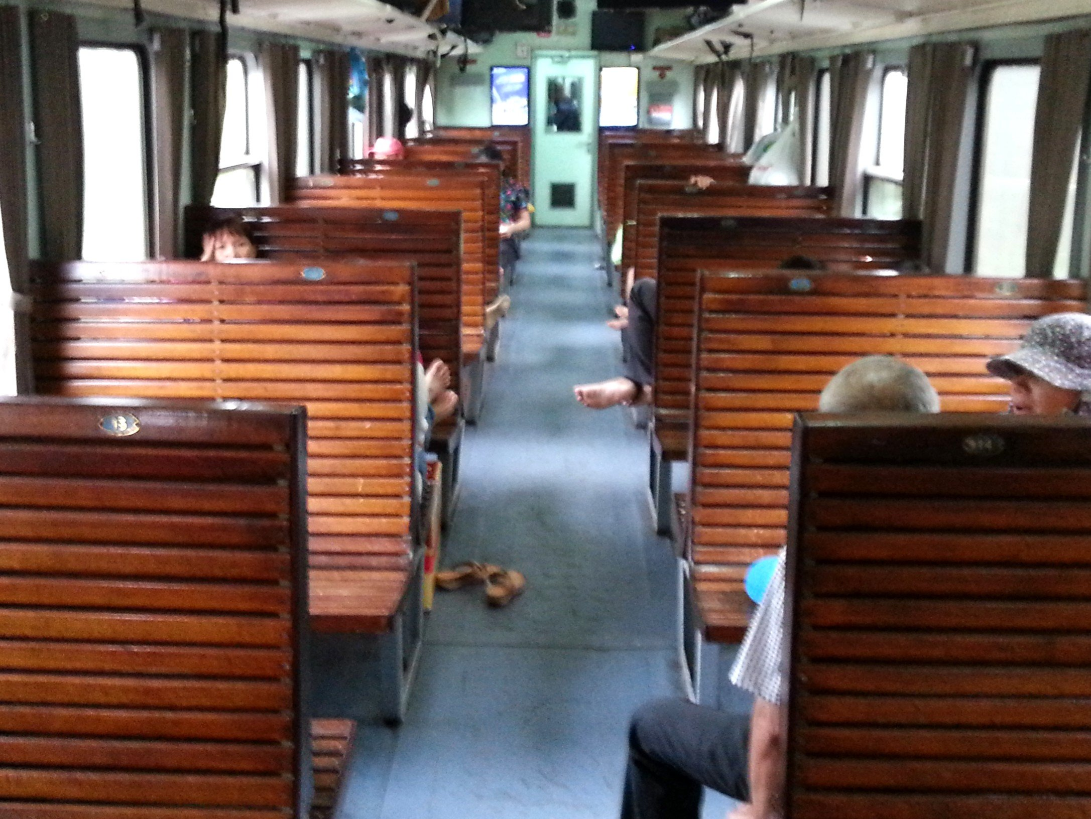 Hard seat carriage on a Vietnam train