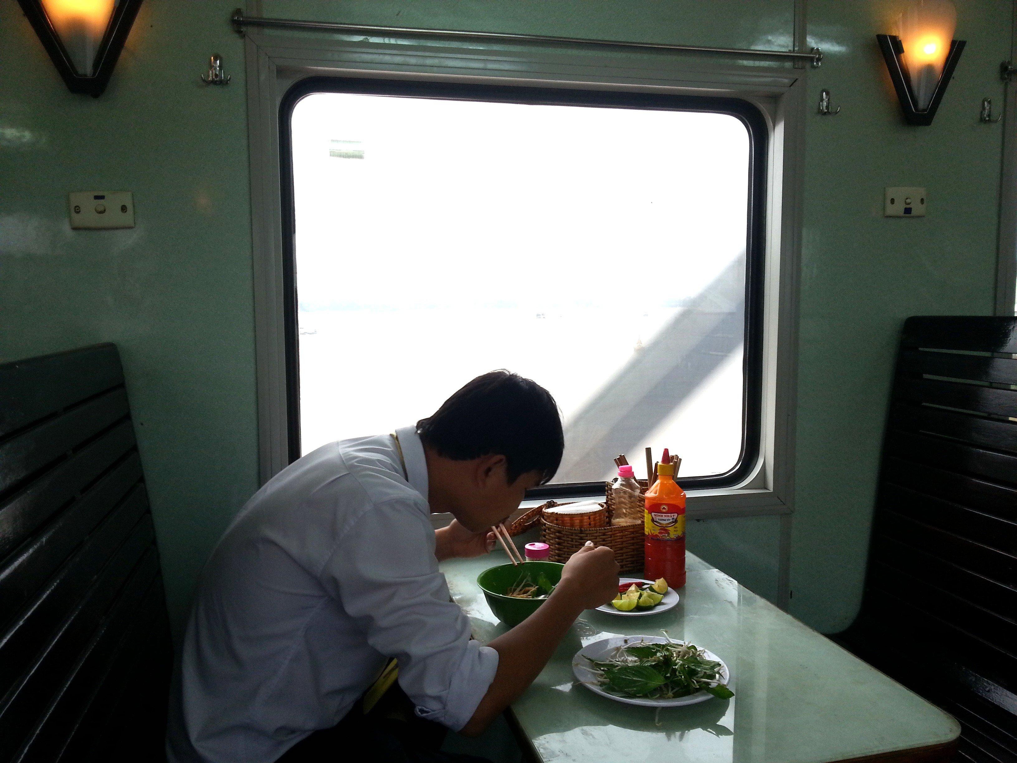 Restaurant car on a Vietnam train