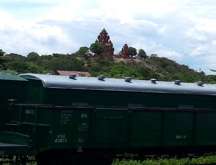 Thap Cham Tower seen from the train