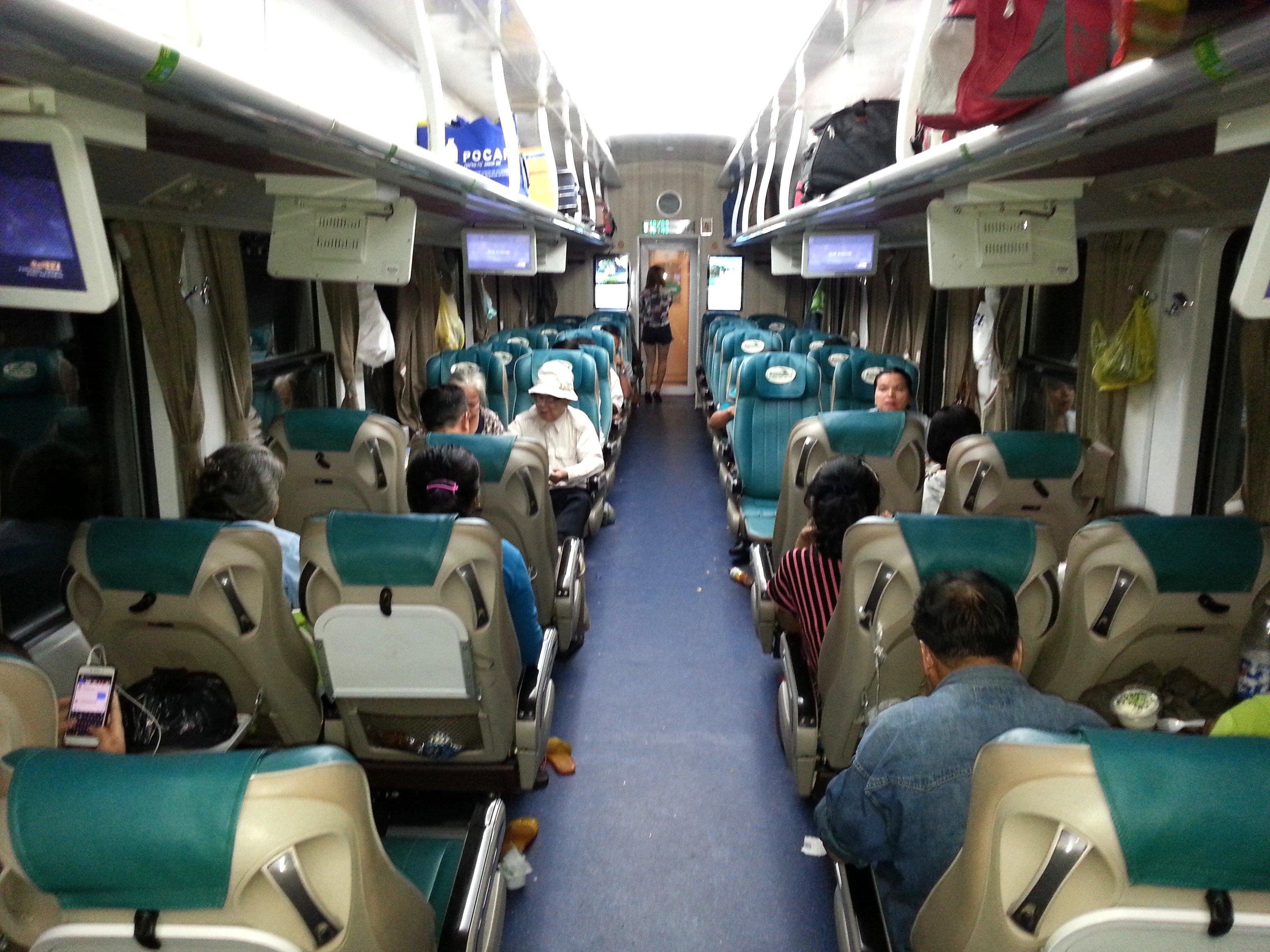Soft seat carriage on Train #SE2 to Hanoi