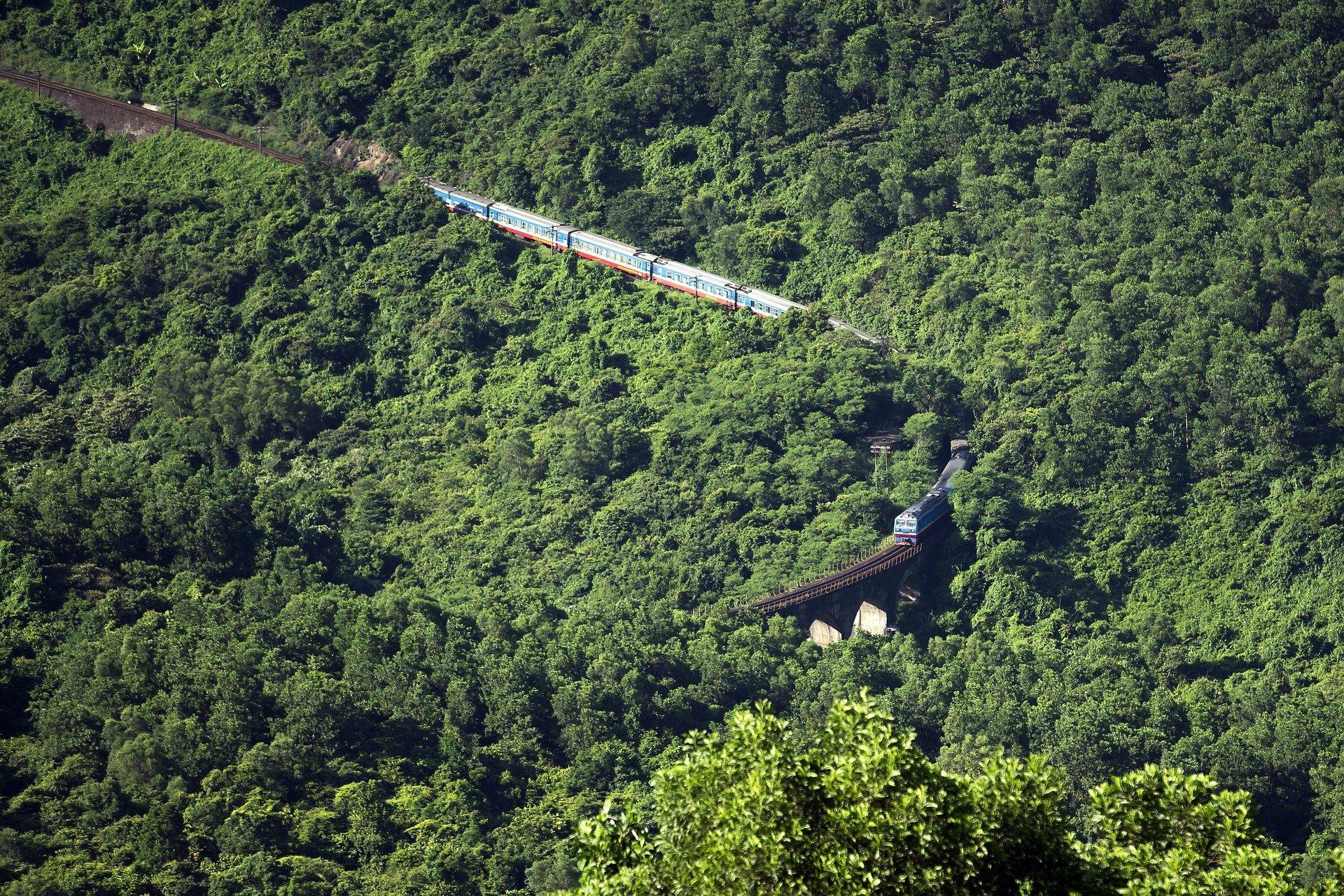 Train in the Hai Van Pass to Hue