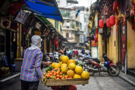 Fruit seller in Hanoi's Old Quarter
